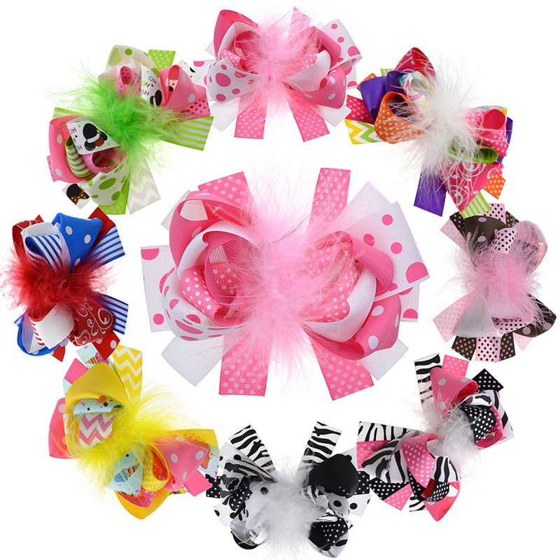 8PCS 5 Inches Kids Loopy Puff Feather Hair Bow With Clips Girls Flower Barrette Women Hair Accessories Photography Props hot women flower feather bead corsage hair clips ladies fascinator bridal hairband brooch hair accessories
