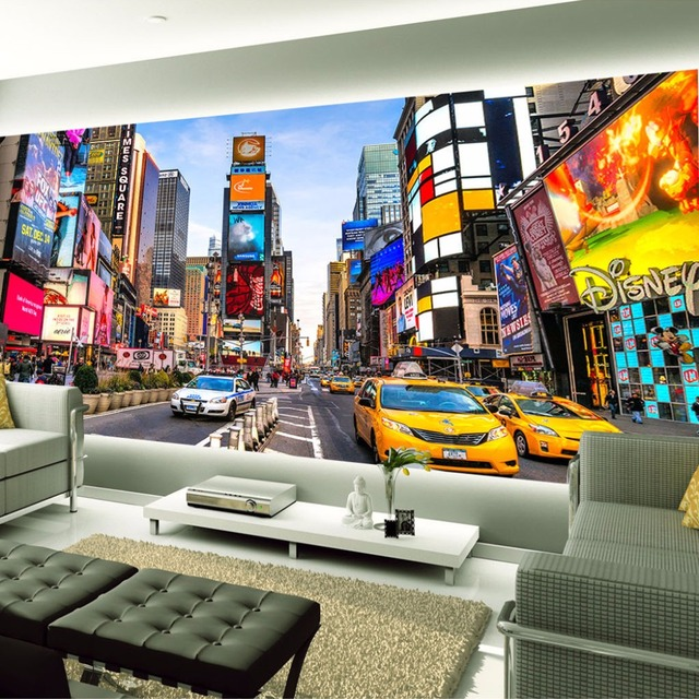 Custom 3D Photo Wallpaper Times Square New York Modern Street View