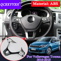 ABS Car Styling Interior Steering Wheel Frame For Volkswagen Touran 2016 2018 Car Steering Wheel Cover Sequin Decoration Sticker