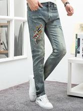 2019 blue brand embroidery designer hip hop men trousers regular soft denim streetwear ripped jeans designer distressed pants