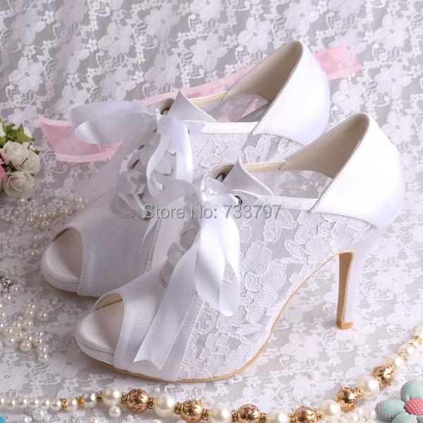 Wedopus Ribbon High Heels Lace Wedding Shoes Platform