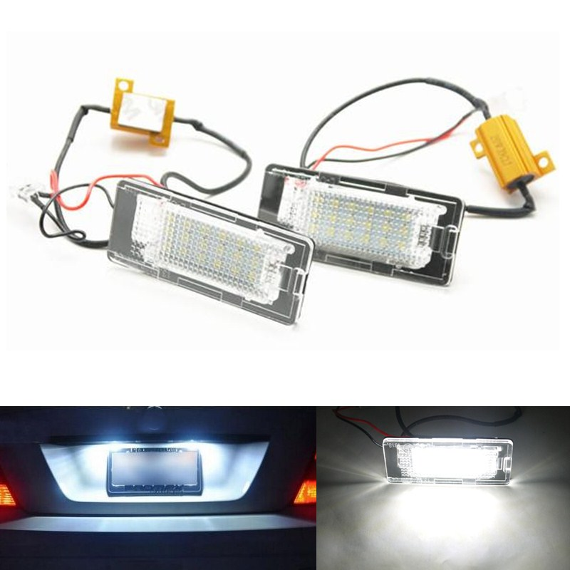 2x 18 LED Error Free Number License Plate Lamp Car Bulbs Auto Light Fit Touran 1T GP2 Touareg Jetta VI Polo 6R Passat 3C B6 - Xiangshang Parts Store store