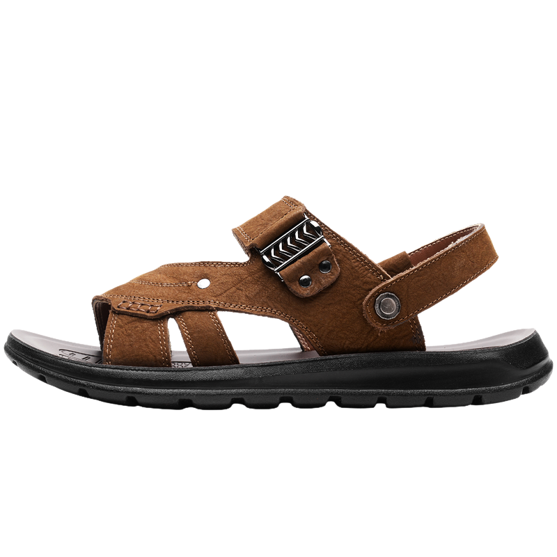 Crocodile 2018 Summer Men Outdoors Sandals Flat Heel Wear-resisting Beach Shoes Men Quick-Drying Genuine Leather Soft Foothold