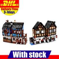 Новый Лепин 16011 1601 шт. средневековый рынок деревня строительные блоки кирпичи игрушечные лошадки модель клон 10193