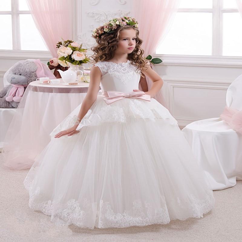 Princess White Tulle Lace Tutu Ball Gown Long Flower Girl Dresses 2017 Girls First Communion Birthday Dresses vestido de daminha