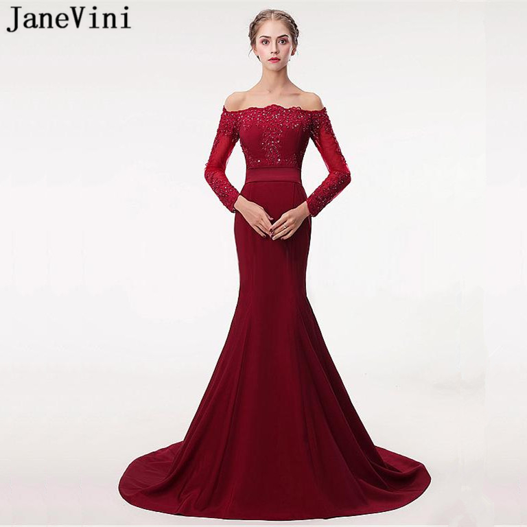 JaneVini Elegant Mermaid Burgundy   Bridesmaid     Dresses   Long Sleeve Lace Appliques Beaded Button Back Satin   Dress   Formal Prom Gowns