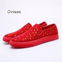 Ovxuan Luxury Brand Party Wedding Male Dress Shoes Rhinestones Totem Slip On Men Loafers Fashion Italian