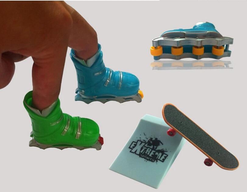 Cute Mini Finger Roller Skates Skating Skateboard Ice Skates Toys Decoration