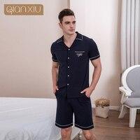 Qianxiu Men Fashion Button Casual Home Wear Cardigan Lounge wear sleep bottoms navy blue