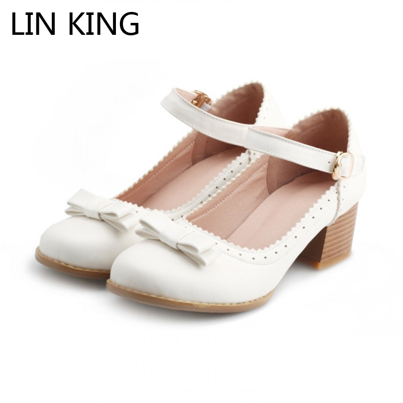 LIN KING Pumps Bowtie Shallow Mouth Ankle Buckle Straps Mary Janes Square Heel Round Toe Low Heel Cosplay Lolita Party Shoes neera sharma education and educational management in kautilya s arthshastra