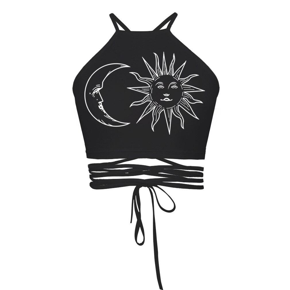 Sun Moon Printed Crop Top Women Backless Hollow Out Halter Top Sexy Bandage Design Sleeveless Tank Top 2019 Summer