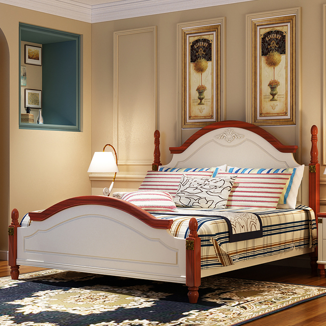 Mediterranean Style Solid Wood Bed Fashion Carved Bedroom Furniture 1.8  MHome Bed