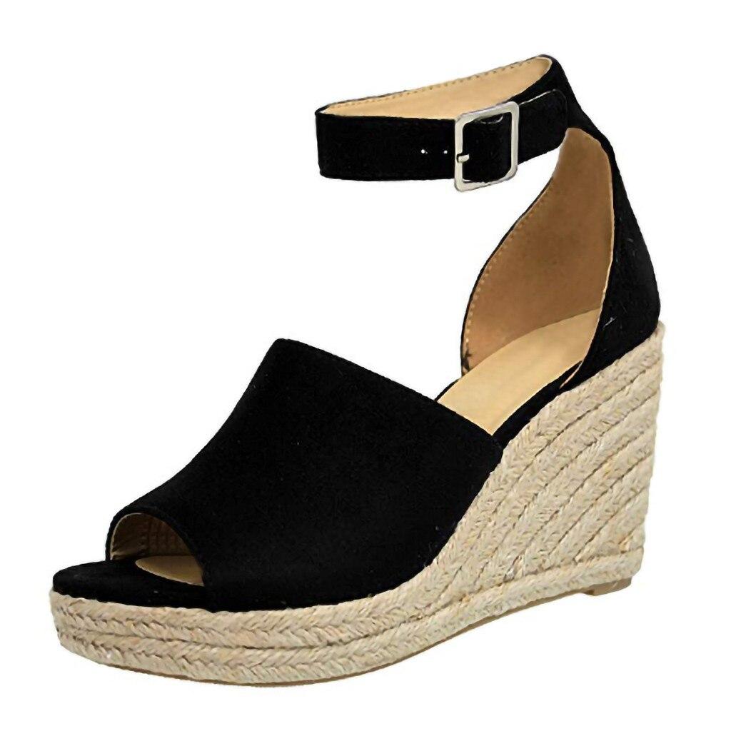 SAGACE Women Sandals Casual Linen Canvas Wedge Platform Buckle Ankle Strap High Heel Platform Pump Espadrilles Ladies Shoes