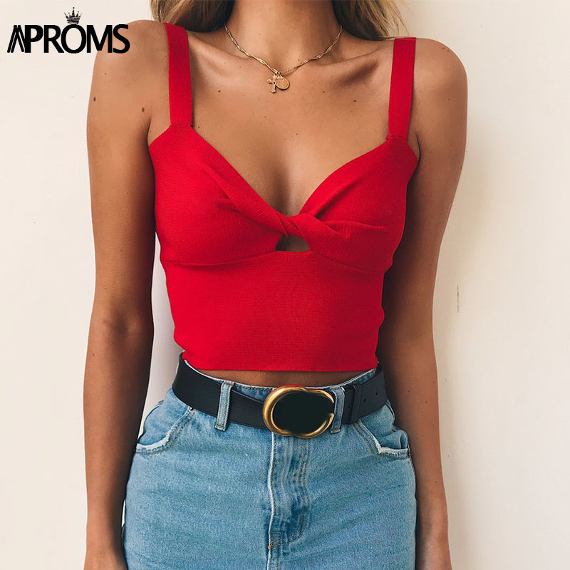 Aproms Candy Color Twist Knitted   Tank     Tops   Summer Stretch Basic Camis Women Hollow Out Crop   Top   Cool Girls Streetwear Tees 2018