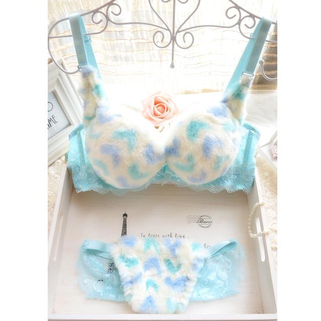 Small push up thickening young girl plush sweet princess winter underwear bra set japanese push up bra & panty set