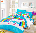 Комплект постельного белья из 3 предметов с объемным рисунком единорога лошади радуги  пододеяльник  наволочка  полный и Королевский животн...