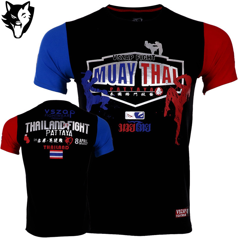 VSZAP Boxeo Boxing Jerseys Fight MMA T-Shirt Gym Tee Shirt Boxing Fitness Sport Muay Thai Cotton Breathable Comfortable T Shirt