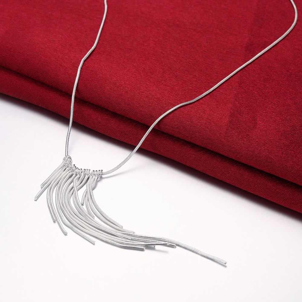 Srebro 925 komplet biżuterii damskiej moda naszyjnik z długim wisiorkiem/frędzlem kolczyki 2 sztuk ślub biżuteria na przyjęcie zestawy akcesoria