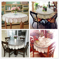 Yazi Vintage White Flower Lace Table Cover Round Cotton Table Cloth Handmade Crochet Tablecloth 51inch