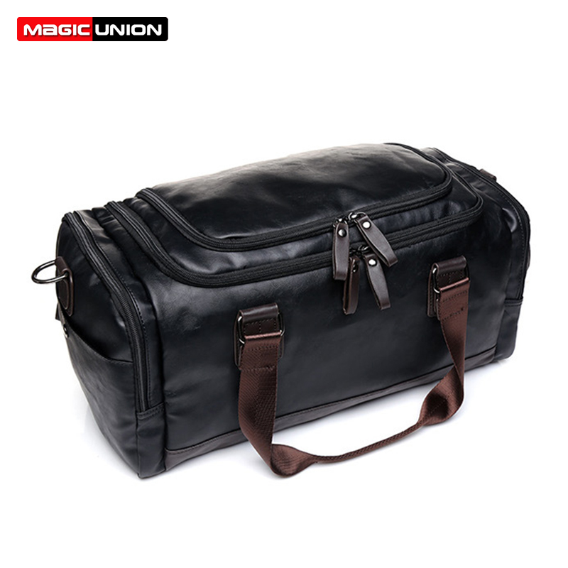 MAGIC UNION New Men's Leather Travel Bags Handbags for Men Shoulder Bags Large-Capacity Big Bag Travel Tote for Business Trip