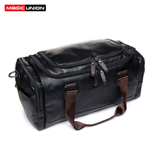 MAGIC UNION New Mens Leather Travel Bags Handbags for Men Shoulder Large-Capacity Big Bag Tote Business Trip