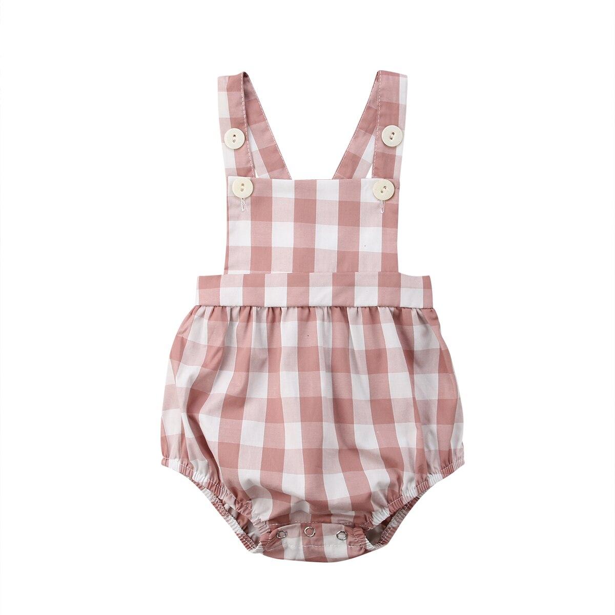 0-18 M Peuter Baby Meisjes Mouwloze Plaid Romper Katoen Pasgeboren Meisjes Jumpsuit Overalls Baby Meisjes Kleding Zomer