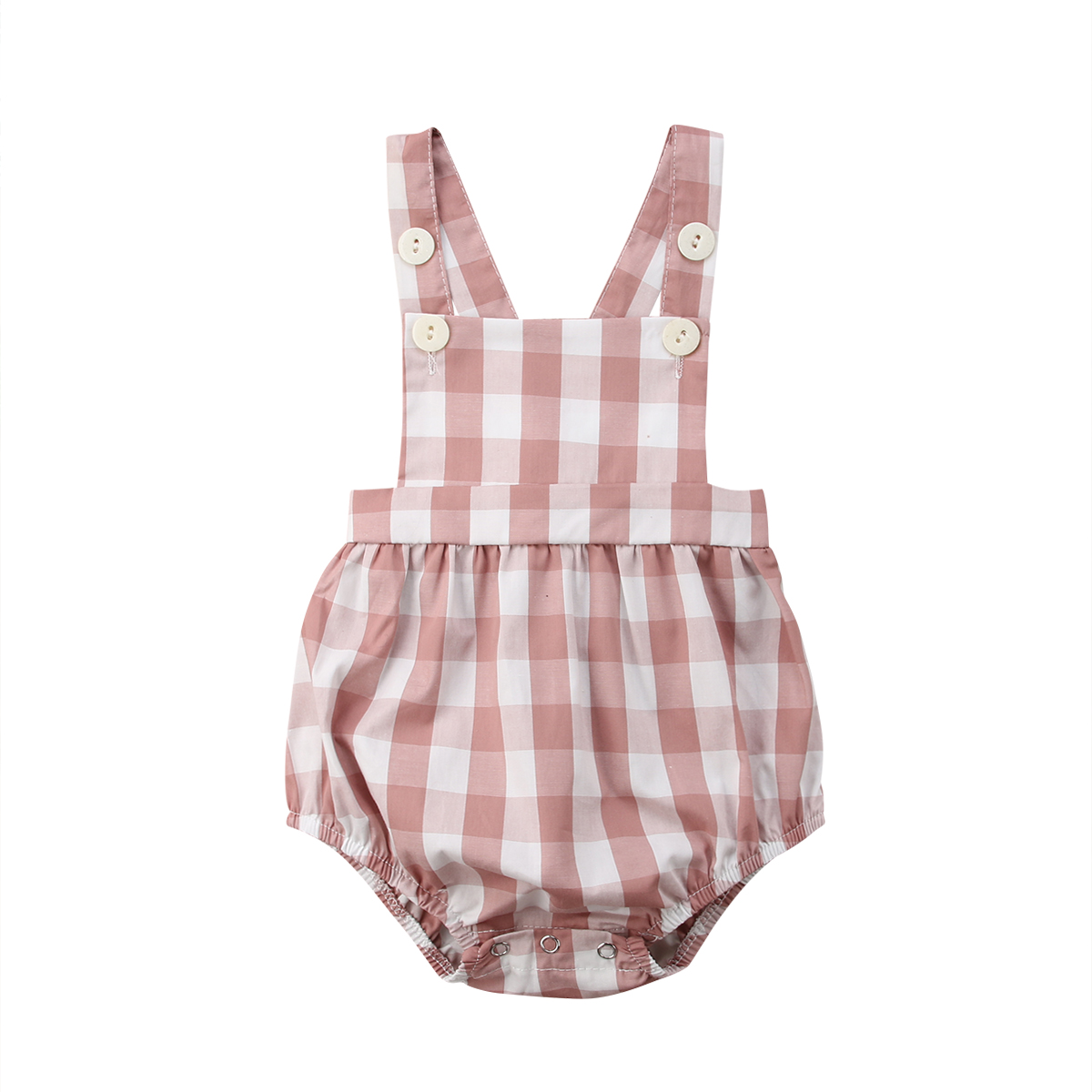 0-18M Toddler Baby Girls Sleeveless Plaid   Romper   Cotton Infant Newborn Girls Jumpsuit Overalls Baby Girls Clothing Summer