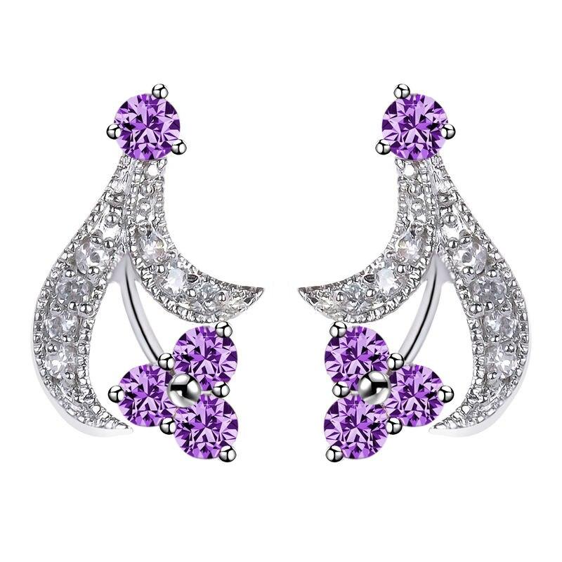Yan Mei Statemennt Trendy Earring Korean Style Plant Shape Cz Silver Plated Stud Earrings Whole Gle0302 In From Jewelry Accessories On