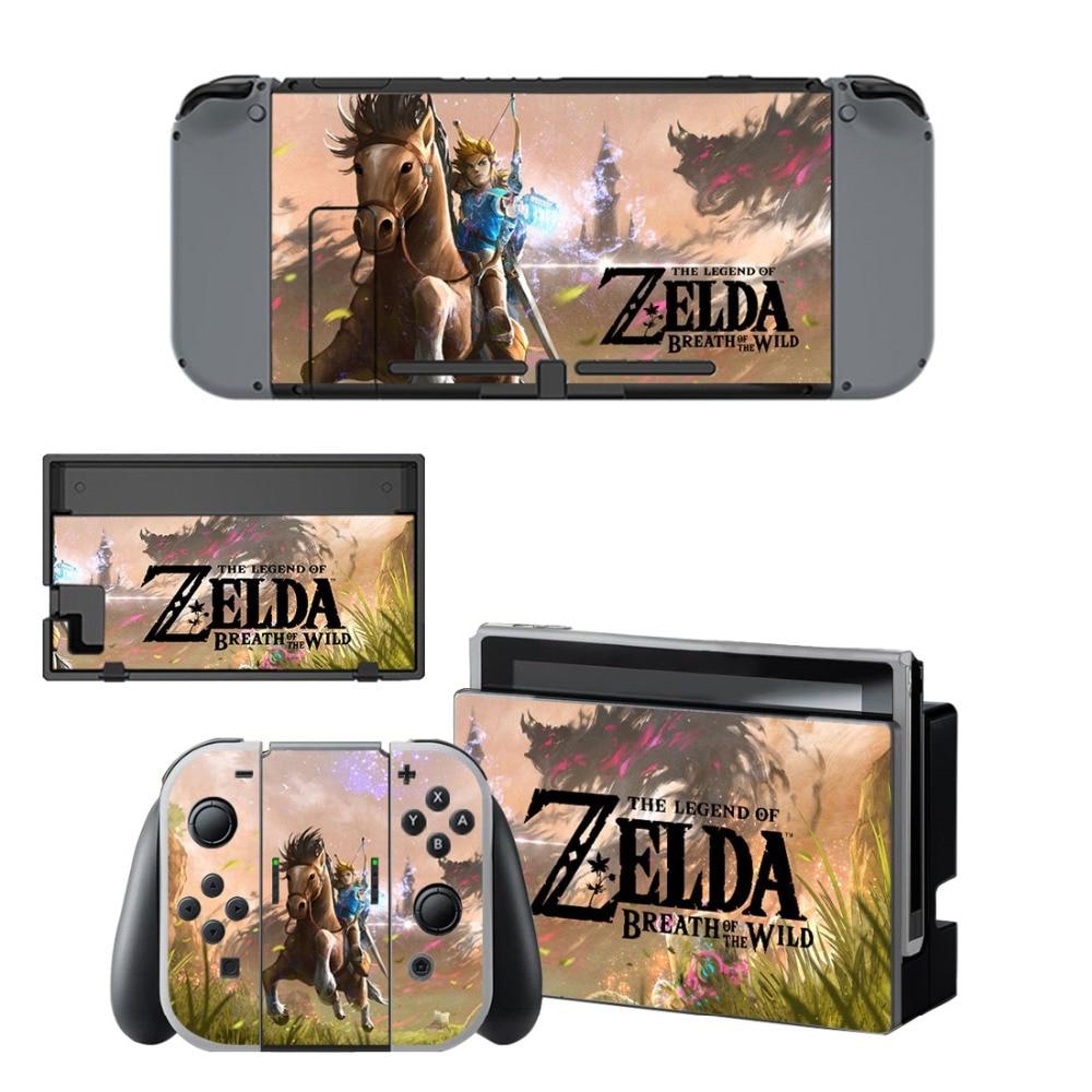 Купить с кэшбэком The Legend of Zelda Decal Vinyl Skin Sticker for Nintendo Switch NS Console+Controller+Stand Holder Protective Film