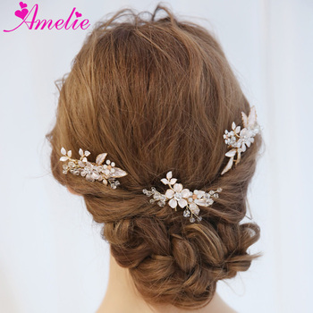 Boho Women Headpiece Crystal Bridal Hair Comb and Hair Pin Wedding Hair Jewelry Prom Hair Accessories Gold Wire Halo headpiece