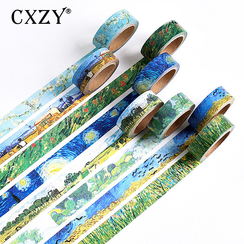 CXZY Van Gogh Starry Painting Craft Washi Tape Stickers Scrapbooking Bullet Journal Washitape Adhesive Planner Decorative 1J803