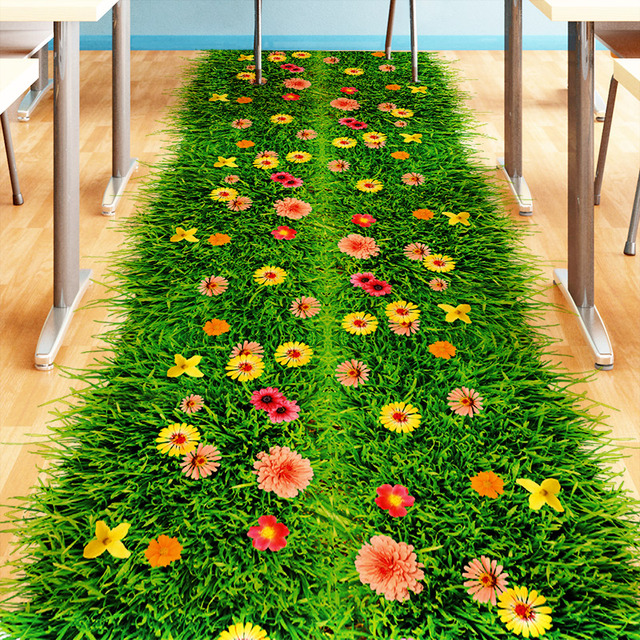 2019 fashion diy nature colorful flowers grass wall sticker home