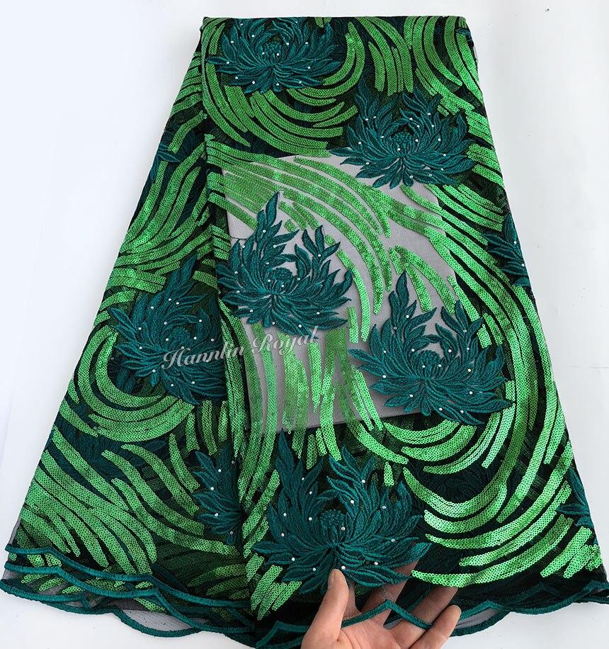 5 야드 녹색 반짝 이는 프랑스어 레이스 아프리카 스위스 얇은 명주 그물 원단 아소 ebi 고품질 핫 세일 독특한 나이지리아 축하 드레스-에서레이스부터 홈 & 가든 의  그룹 1