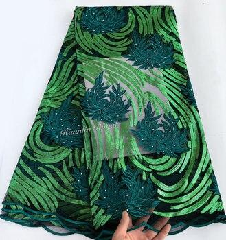5 yards Verde lucido francese Africano del merletto merletto Svizzero tessuto di tulle unico Nigeriano vestito da festa per aso ebi calda di alta qualità vendita