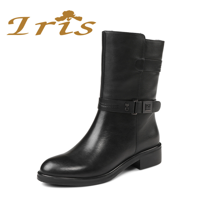 IRIS Mid Calf Boots Women Black Genuine Leather Round Toe Flat Heels Motocyle Boots Hademade High Quality Short Boots 2017 New