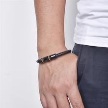 Punk Leather Black & Gold Charm Bracelets