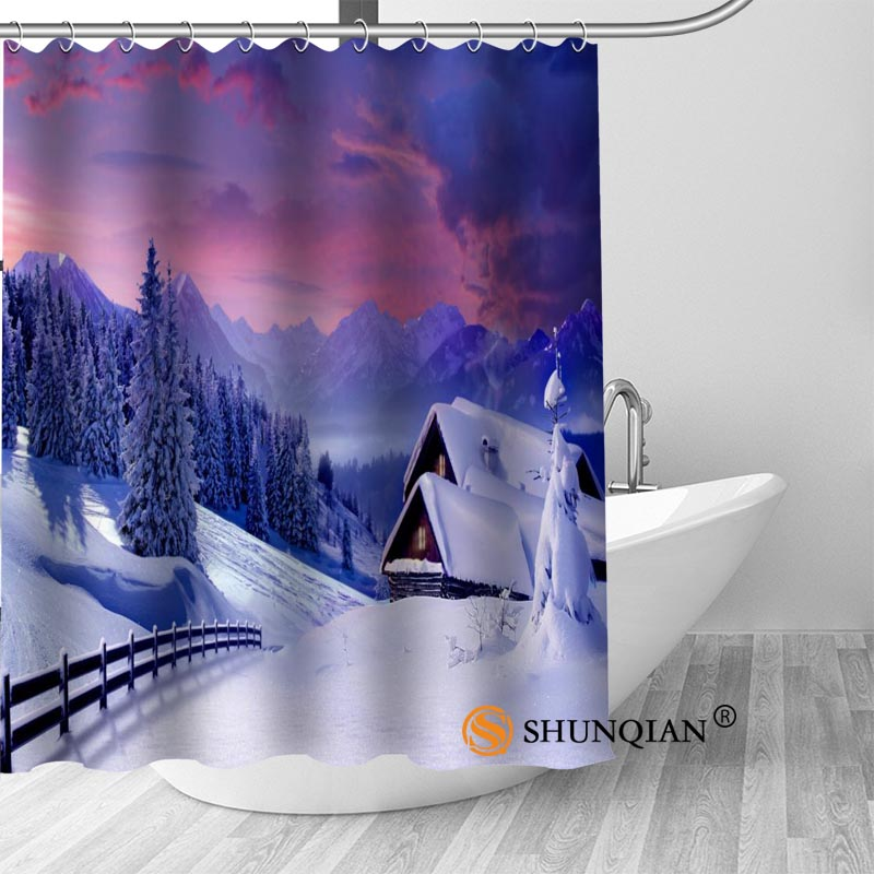 Snow Mountains Bath Curtain 100% polyester Fabric Shower Curtain bathroom beautiful Bath decor Print your picture
