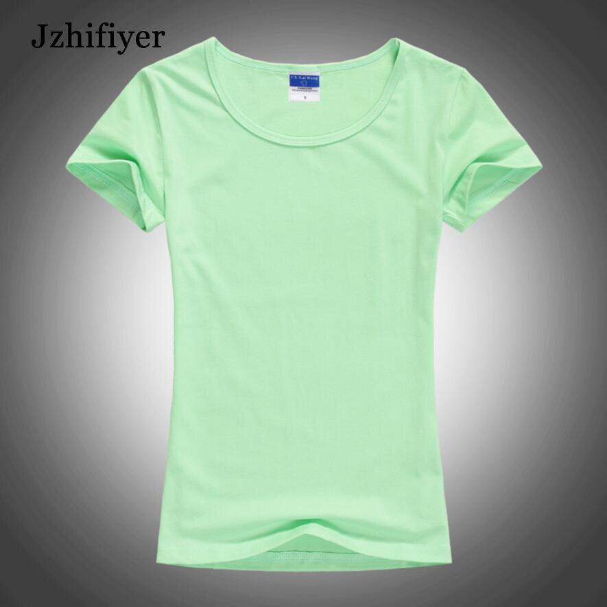 2d5cc5a5dfb8 Click here to Buy Now!! Женская футболка с короткими рукавами и круглым  вырезом футболка лайкра хлопок пустой футболка женская Однотонная ...