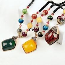 Bohemian estilo étnico colares do Vintage pingentes Beads longo colar para as mulheres menina presentes Bijoux acessórios de moda jóias
