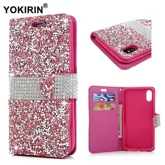 separation shoes 36cb1 16ae9 US $9.75 |YOKIRIN Luxury Bling Rhinestone Diamond For iPhone X Glitter Flip  Wallet Leather Cover Protective Phone Cases For iPhone X -in Wallet Cases  ...