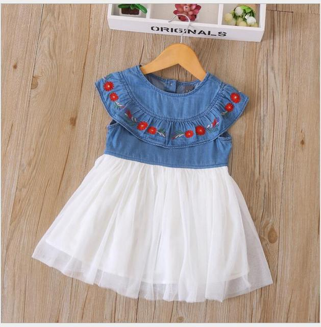 0364a54370 Girls Denim dress baby girl tulle dress Toddler princess dress costume for  children vetement enfant fille