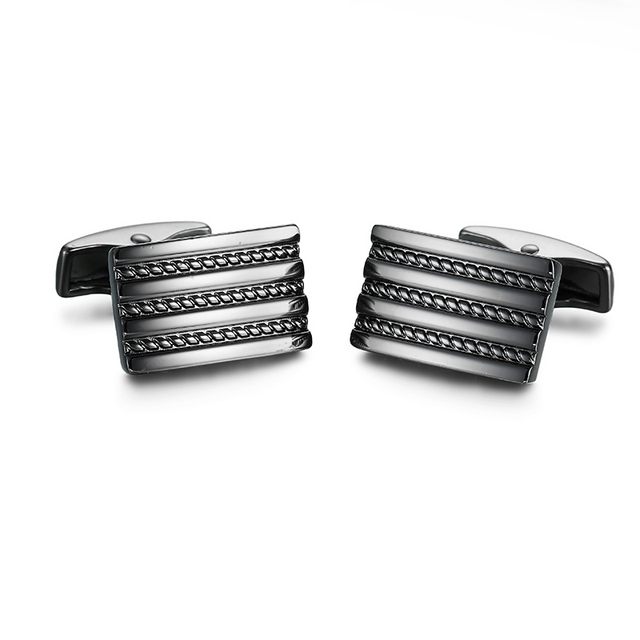 Cuff Links Luxury Stainless Steel Cufflinks Black Gold Wedding Business Fathers Day