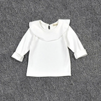 T Shirt For Girls Ruffle Turn Down Collar Long Sleeve White Tops Birthdays Kids Clothes Spring