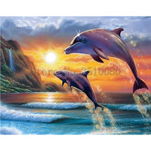Dolphins Diving Sunset room decor Embroidery Pattern diamond 5D DIY paintings 3D Cross stitch kits mosaic stickers RS1071(China)