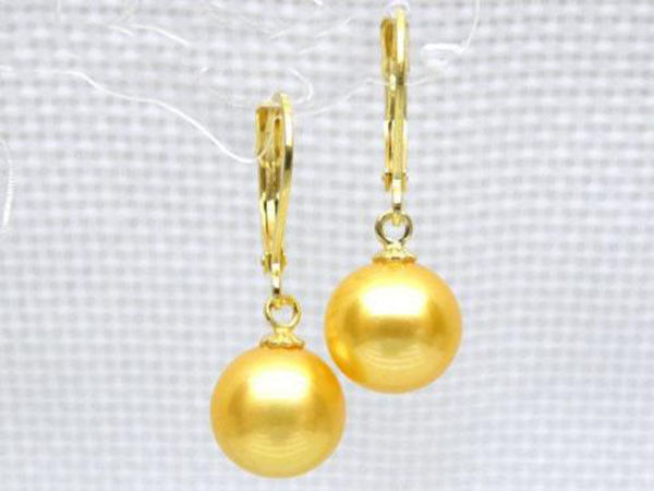 AAA+++ 7.5mm perfect round golden yellow south sea pearl dangle earring 14k/20AAA+++ 7.5mm perfect round golden yellow south sea pearl dangle earring 14k/20