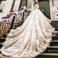 Luxury Cathedral/Royal Train Muslim Wedding Dress 2017 Vintage Lace Long Sleeve Vestido De Noiva 2016 Ball Gown Wedding Dress