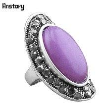 Rhinestone Anillos de Piedra Natural de Color Púrpura Para Las Mujeres silver Apariencia Vintage Antiguo Plateado Joyería de Moda TR287