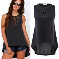 new Sexy Women Retro Hollow Tops Female Sleeveless Casual Plus Size Loose Shirt Blouse
