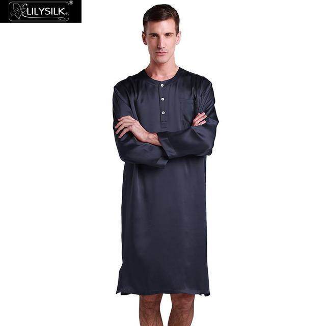 Lilysilk Natural Silk Robe Men Nightgown Bathrobes Chinese Kimono 22 Momme  Navy Blue Luxury Nightshirt Dressing 005fb5863