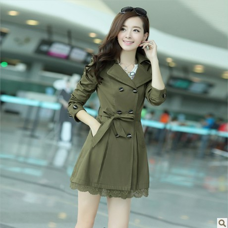 Hot New Autumn han edition cultivate one's morality big yards lace double-breasted trench coat windbreaker